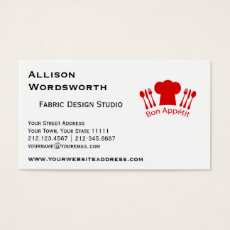 Love to Cook Chef Hat Bon Appetit Business Card