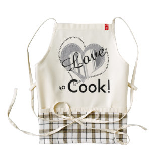"""""""Love to Cook"""" - Smoked Pearl Stripes and Hearts Zazzle HEART Apron"""