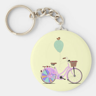 Love to Cycle on my Pink Bike by Andy Scullion Keychain