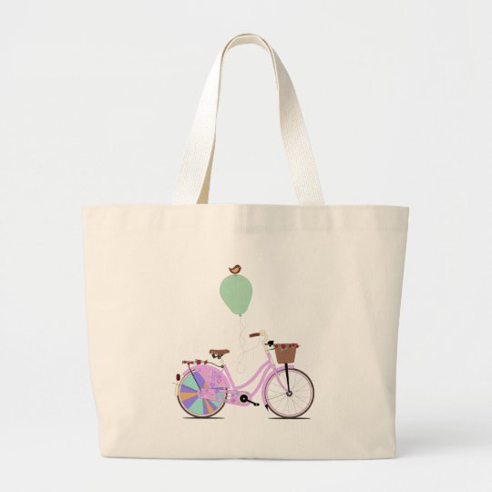 Love to Cycle on my Pink Bike by Andy Scullion Large Tote Bag