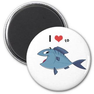 Love to fish 2 inch round magnet