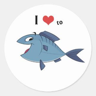 Love to fish classic round sticker