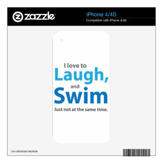 Love to Laugh and Swim iPhone 4 Decals