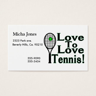 Love To Love Tennis Business Card