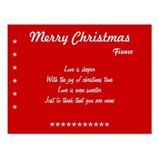 love to my fiance christmas postcards