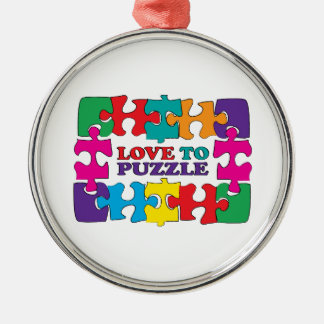Love To Puzzle Metal Ornament