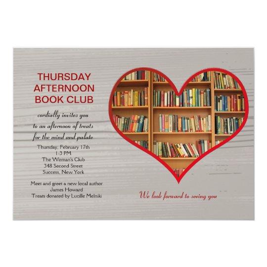 Love to Read Book Club Invitation Zazzlecom