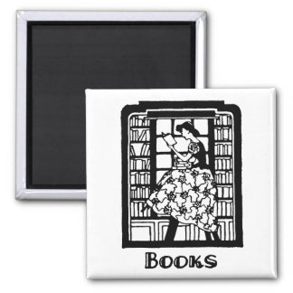 Love to Read Books 2 Inch Square Magnet