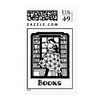 Love to Read Books Postage Stamps