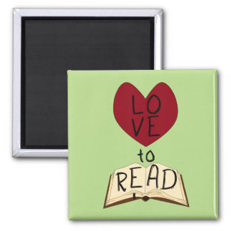 Love to Read - Change Color 2 Inch Square Magnet