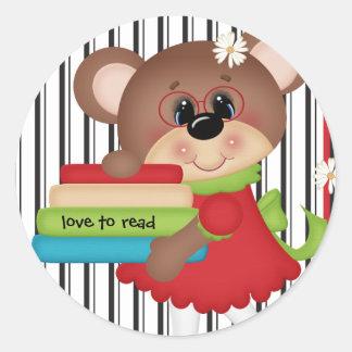 Love to Read Cute Bear Sticker