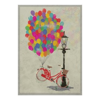 Love to Ride my Bike with Balloons! Posters