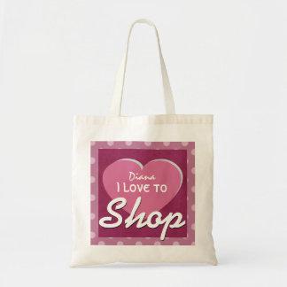 Love to SHOP and Heart Polka Dots Custom Name V7 Tote Bag
