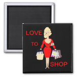 Love To Shop Funny Lady Shopping 2 Inch Square Magnet