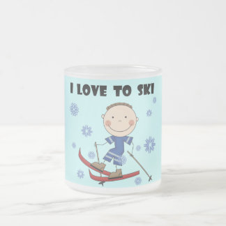 Love to Ski - Boy Tshirts and Gifts Frosted Glass Coffee Mug