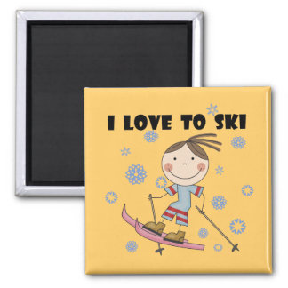 Love to Ski - Girl Tshirts and Gifts 2 Inch Square Magnet