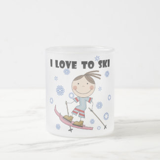 Love to Ski - Girl Tshirts and Gifts Frosted Glass Coffee Mug