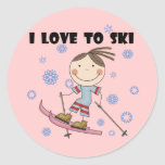 Love to Ski - Girl Tshirts and Gifts Classic Round Sticker
