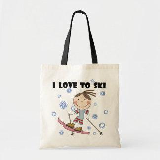 Love to Ski - Girl Tshirts and Gifts Tote Bag