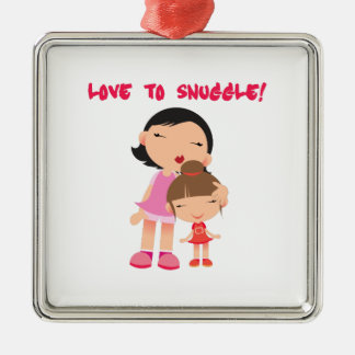 Love to Snuggle Square Metal Christmas Ornament