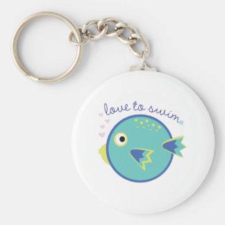 Love To Swim Basic Round Button Keychain