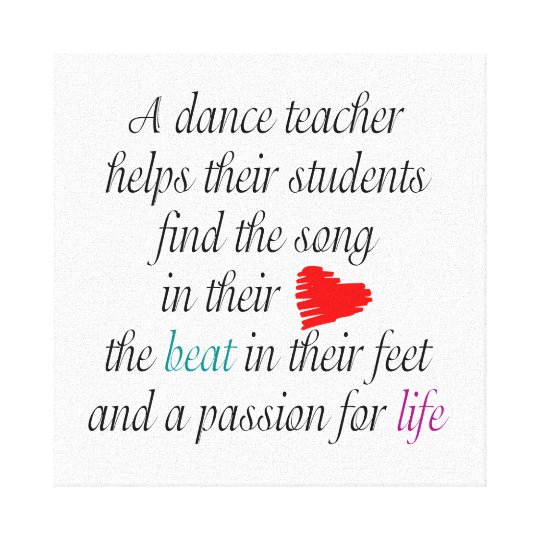 Love To Teach Dance Canvas Wall Art