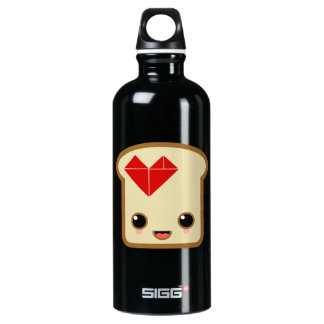 love toast life heart aluminum water bottle