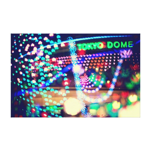 Love Tokyo Dome Colorful Psychedelic Heart Lights Stretched Canvas Prints