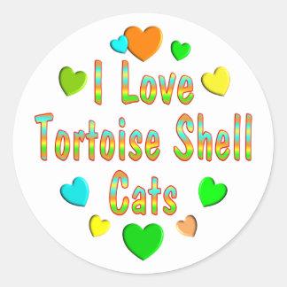 Love Tortoise Shell Cats Classic Round Sticker