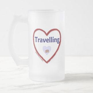 Love Travelling Frosted Glass Beer Mug