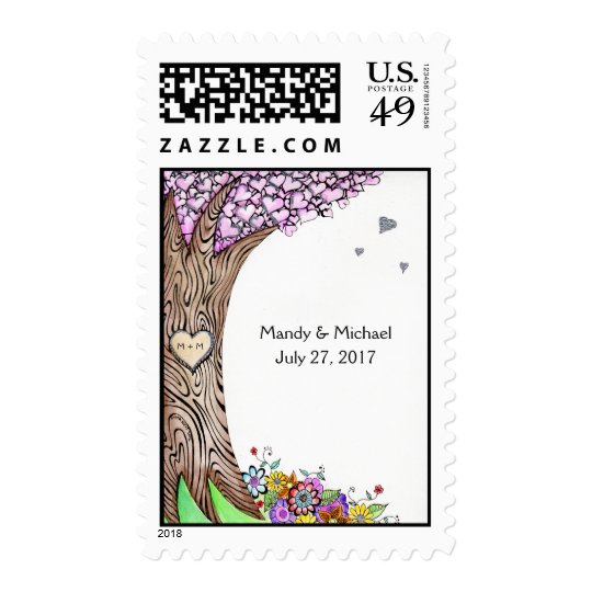 Love Tree custom message hearts postage stamps