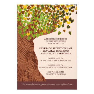 Love Tree Falling Heart Leaves Reception Card Invites