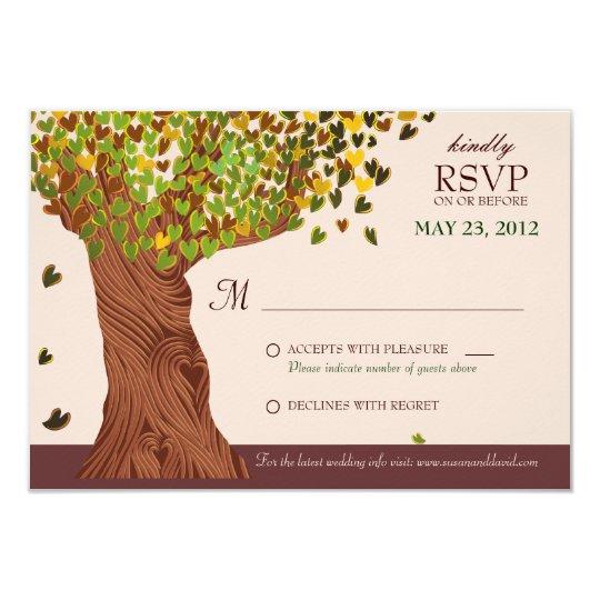 Love Tree Falling Heart Leaves RSVP Card
