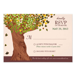 Love Tree Falling Heart Leaves RSVP Card Personalized Invites