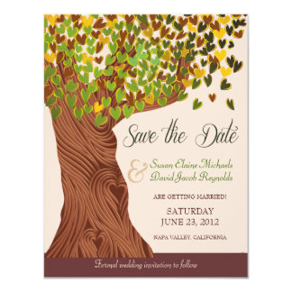 Love Tree Falling Heart Leaves Save the Date 4.25x5.5 Paper Invitation Card