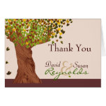 Love Tree Falling Heart Leaves Thank You Note Greeting Cards