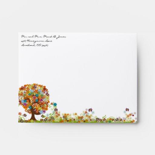 Love Tree Flower Wedding RSVP Envelopes