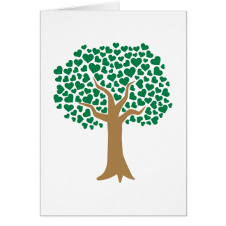Love tree green hearts card