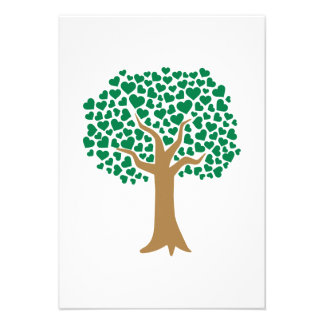 Love tree green hearts personalized invite