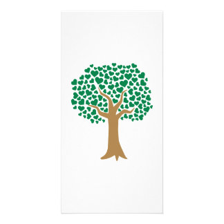 Love tree green hearts picture card