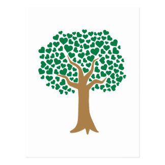 Love tree green hearts postcards