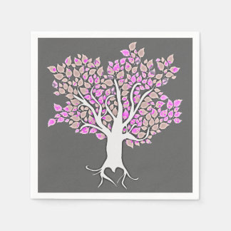love tree grey purple wedding paper napkins