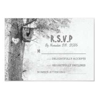 Love tree grey rustic wedding response cards