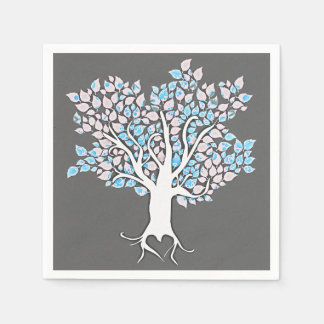 love tree grey turquoise wedding paper napkins
