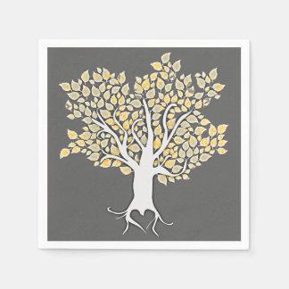love tree grey yellow wedding paper napkins