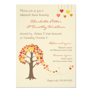 Love Tree Hearts Rehearsal Dinner Invitation