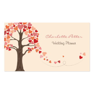 Love Tree Hearts Wedding Business Cards