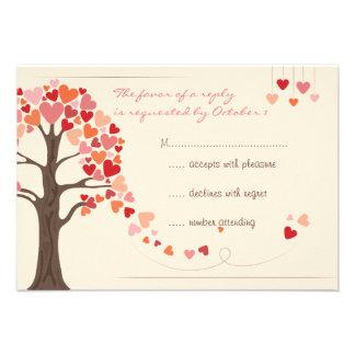 Love Tree Hearts Wedding RSVP Custom Invitation