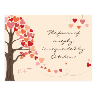 Love Tree Hearts Wedding rsvp Postcard