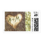 love tree postage stamps for rustic weddings
